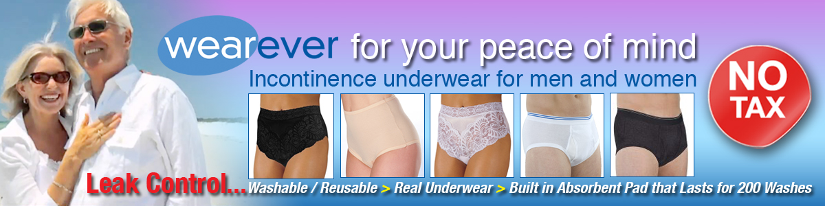 Wearever Incontinence, real underwear, continence, reusable