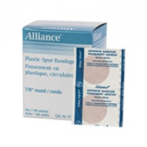 "Plastic Spot Bandages, 7/8"", Sterile, Latex-Free"