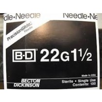 """Hypodermic Needle PrecisionGlide, 22g x 1.5"""""""