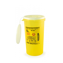 Bio-hazardous Sharps Container with Waste Slide Lid  Yellow with vertical entry 3 L