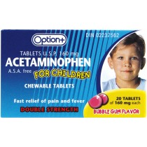 OPTION+  ACETAMINOPHEN FOR CHILDREN - BUBBLE GUM FLAVOUR