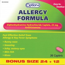 OPTION+ ALLERGY TABLET 25MG 24+12