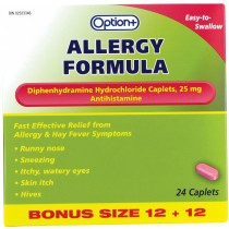 OPTION+ ALLERGY AIDE 25MG 12+12 CAPLETS