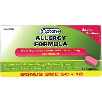 OPTION+ ALLERGY AIDE 25MG 50+12 CAPLETS