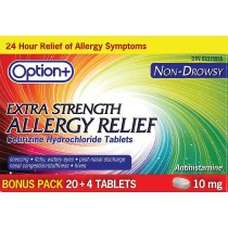 OPTION+ ALLERGY TABLET 10MG 20+4