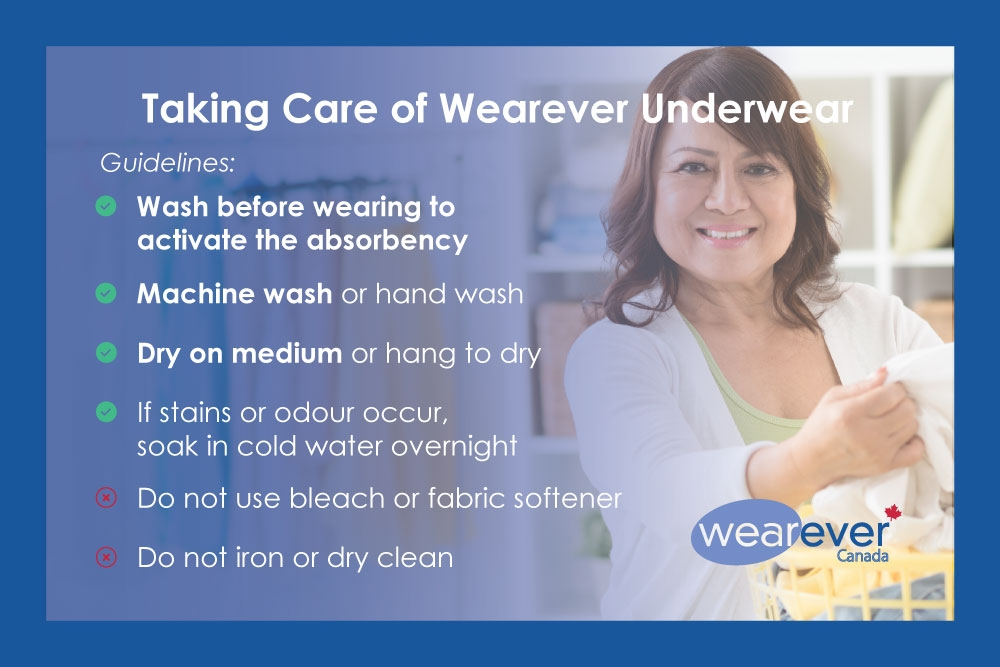 Wash before wearing to activate absorbency. You can machine wash, or wash by hand, dry on medium or hang to dry. If stains occur soak in cold water overnight. Do not bleach, use fabric softener, dry clean or iron.